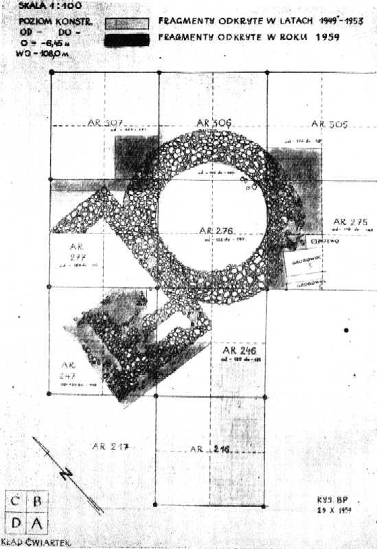 plan palatium z rotundą na Ostrowie Lednickim